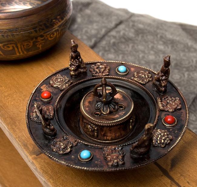 チベット香用アンティークお香立て[直径:約13.5cm]の写真
