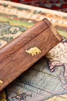 シーシャムウッド 箱型お香立て - 象