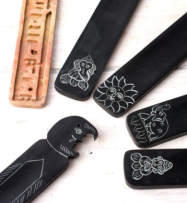 ソープストーンのさじ型お香立て - 仏陀 6 - 色々な種類を取り揃えるとさらに楽しくなりますね!