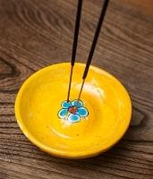 ジャイプール陶器のお香立て 丸型 - 黄色
