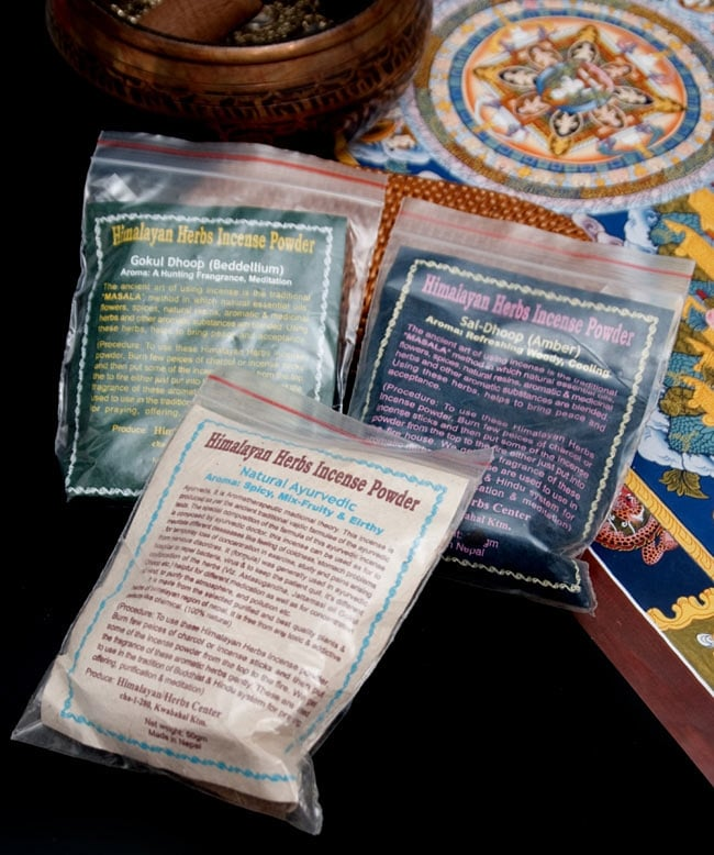 インドの取っ手付き香炉(10cm)の写真6 - このようなタイプのお香がお使いいただけます