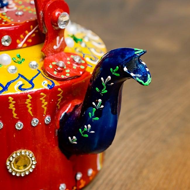 インドのデコレーションやかん - 赤×黄イエローストーン 4 - 注ぎ口です!とっても可愛いです^^