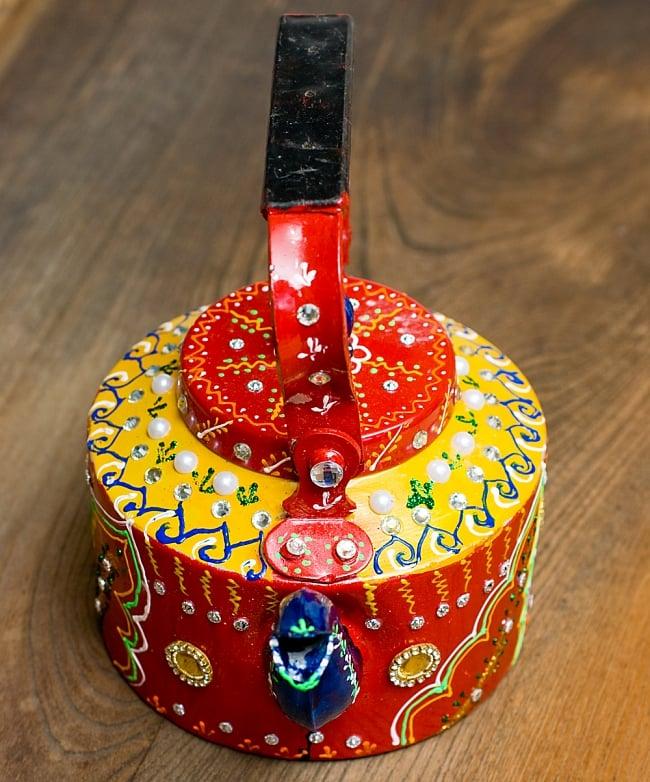 インドのデコレーションやかん - 赤×黄イエローストーン 7 - 可愛いお顔をしています!