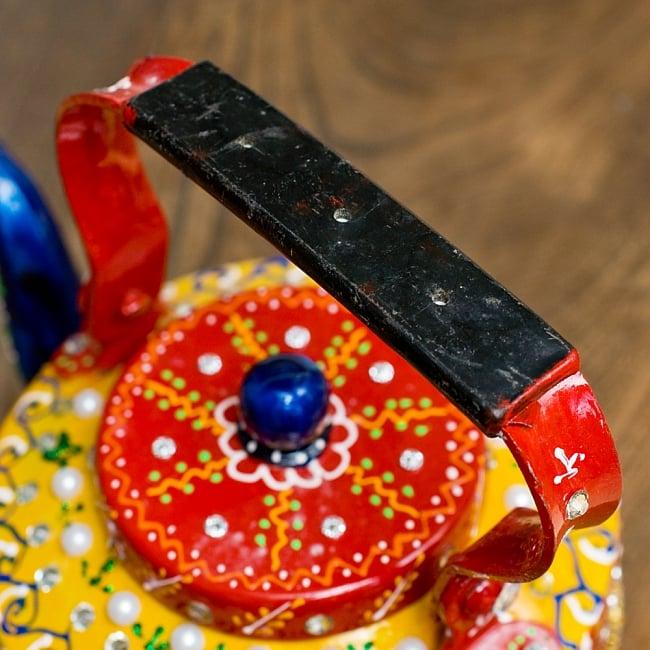 インドのデコレーションやかん - 赤×黄イエローストーン 9 - 持ち手部分はこの様になっています。