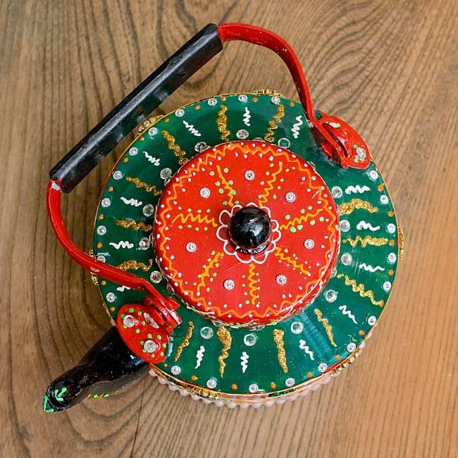 インドのデコレーションやかん - 赤×緑ブルーストーン 12 - 上から除いてみました!可愛いです^^