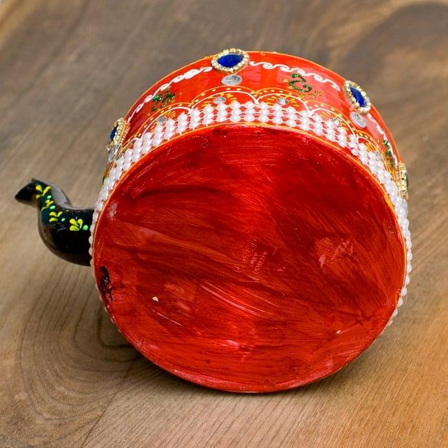 インドのデコレーションやかん - 赤×緑ブルーストーン 13 - 底はこの様になっています。
