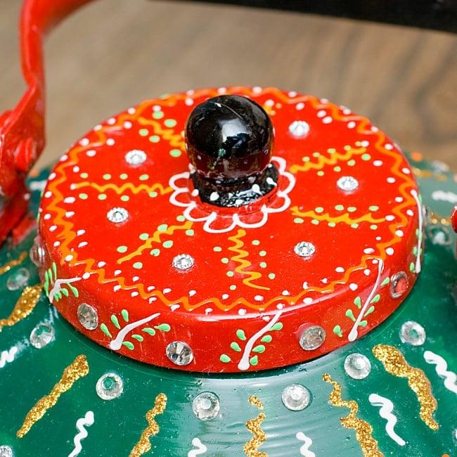 インドのデコレーションやかん - 赤×緑ブルーストーン 3 - 蓋部分をUPにしてみました!
