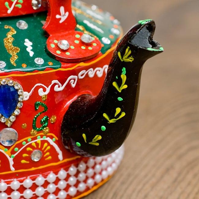 インドのデコレーションやかん - 赤×緑ブルーストーン 4 - 注ぎ口です!とっても可愛いです^^