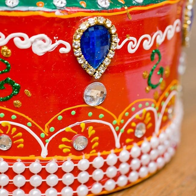 インドのデコレーションやかん - 赤×緑ブルーストーン 5 - 細かいところまで装飾されています