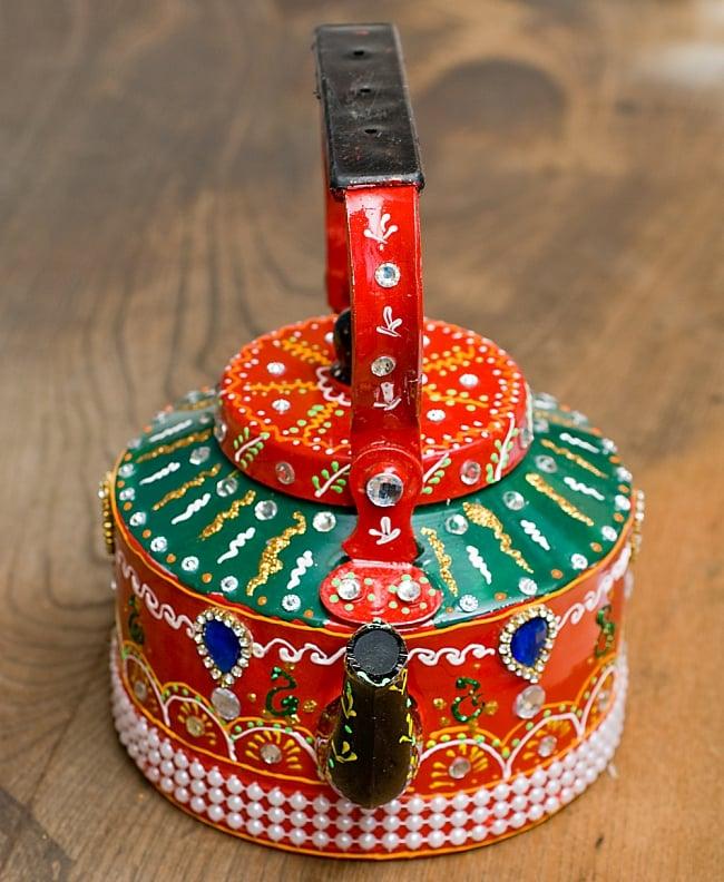 インドのデコレーションやかん - 赤×緑ブルーストーン 7 - 可愛いお顔をしています!