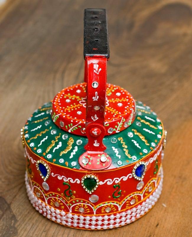 インドのデコレーションやかん - 赤×緑ブルーストーン 8 - 後ろはこの様になっています!