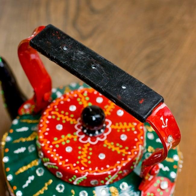 インドのデコレーションやかん - 赤×緑ブルーストーン 9 - 持ち手部分はこの様になっています。