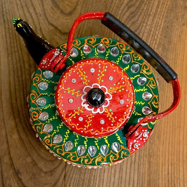 インドのデコレーションやかん - 赤×緑クリアストーンB 12 - 上から除いてみました!可愛いです^^