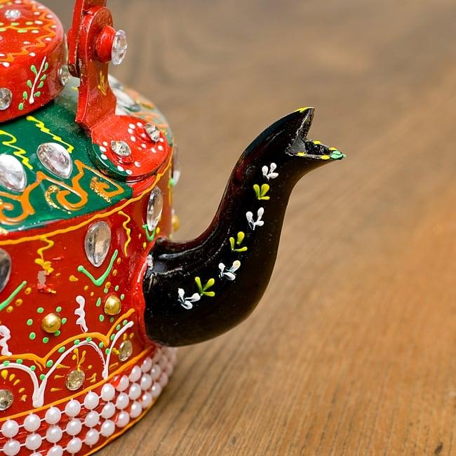インドのデコレーションやかん - 赤×緑クリアストーンB 4 - 注ぎ口です!とっても可愛いです^^