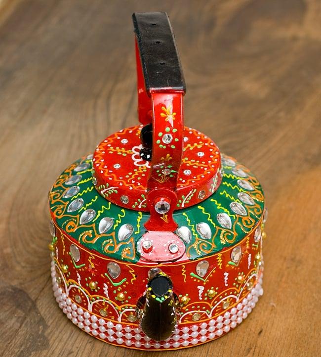 インドのデコレーションやかん - 赤×緑クリアストーンB 7 - 可愛いお顔をしています!