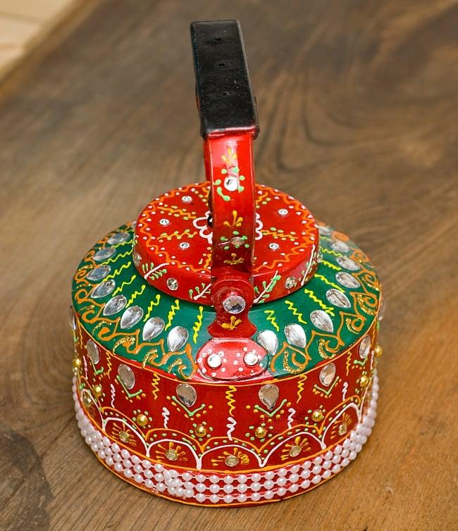 インドのデコレーションやかん - 赤×緑クリアストーンB 8 - 後ろはこの様になっています!