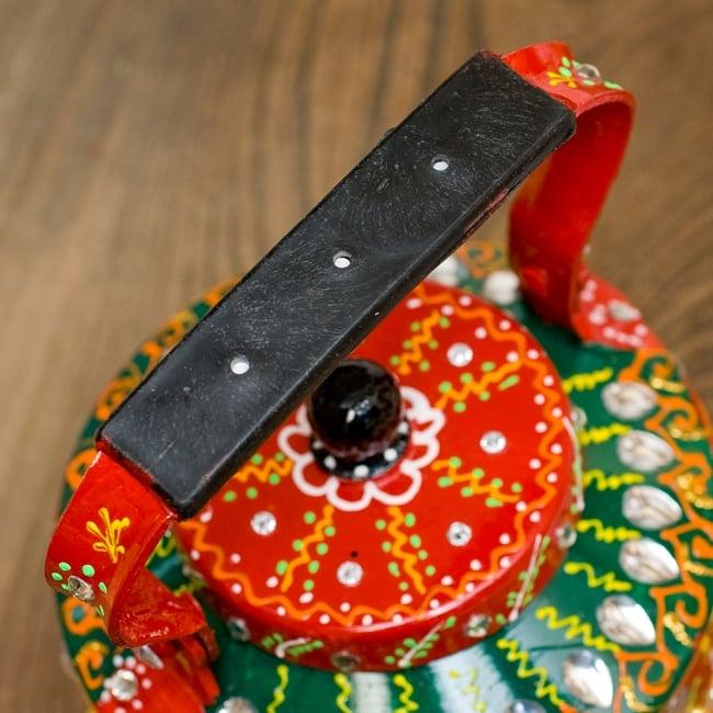 インドのデコレーションやかん - 赤×緑クリアストーンB 9 - 持ち手部分はこの様になっています。