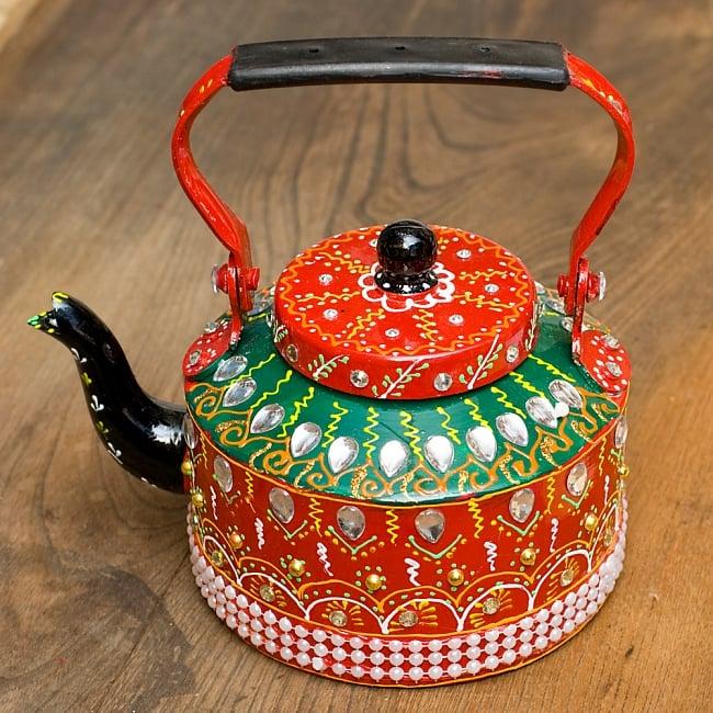 インドのデコレーションやかん - 赤×緑クリアストーンBの写真