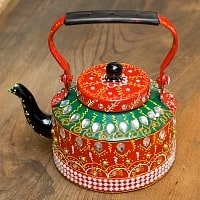 インドのデコレーションやかん - 赤×緑クリアストーンB