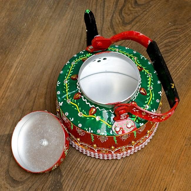 インドのデコレーションやかん 赤×緑クリアストーンCの写真11 - 蓋を開けてみました!中身はきれいですがこちらは食器ではございません。鑑賞用のポットとなります。