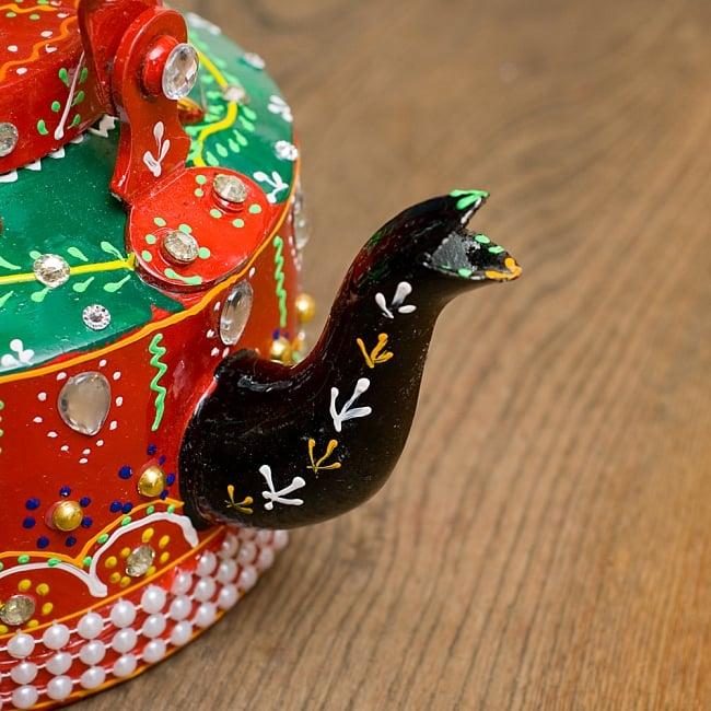 インドのデコレーションやかん 赤×緑クリアストーンCの写真4 - 注ぎ口です!とっても可愛いです^^