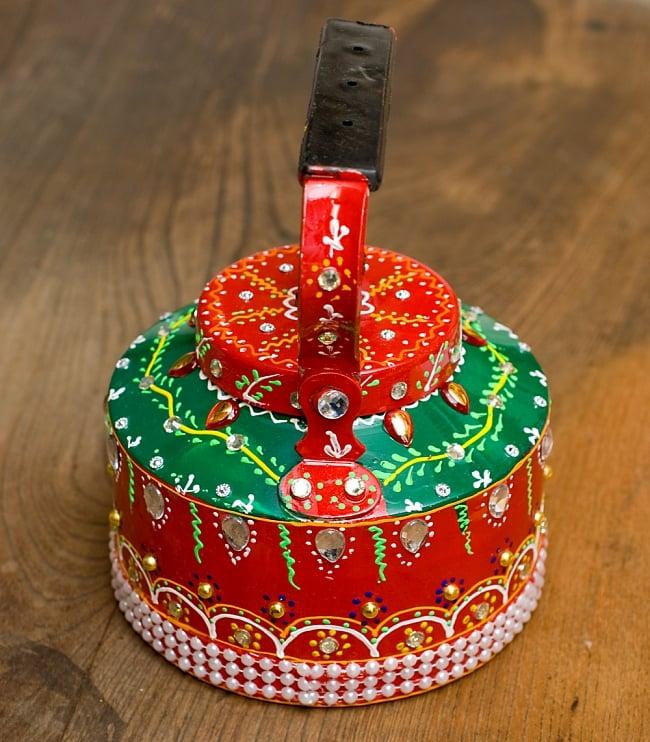 インドのデコレーションやかん 赤×緑クリアストーンCの写真8 - 後ろはこの様になっています!
