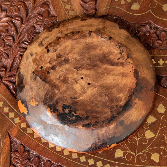 ネパールのハンドペイント陶器お香立て 曼荼羅【直径約12.5cm】 4 - 裏面になります。