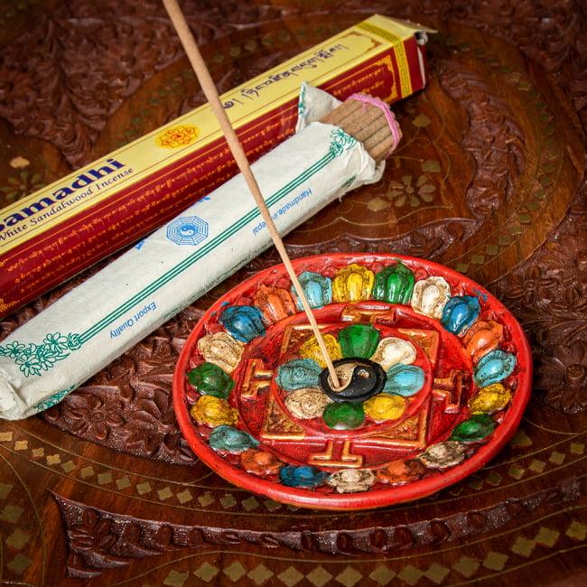 ネパールのハンドペイント陶器お香立て 曼荼羅【直径約12.5cm】の写真