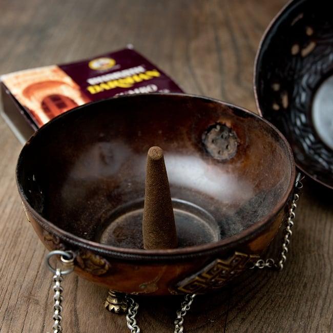 伝統チベタン香炉 吊り下げられるハンギング式 14 - 置いての使用で動かないところなら、コーン香にも