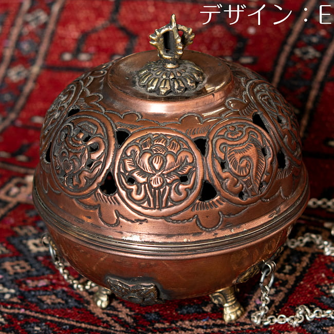 伝統チベタン香炉 吊り下げられるハンギング式 20 - デザインE