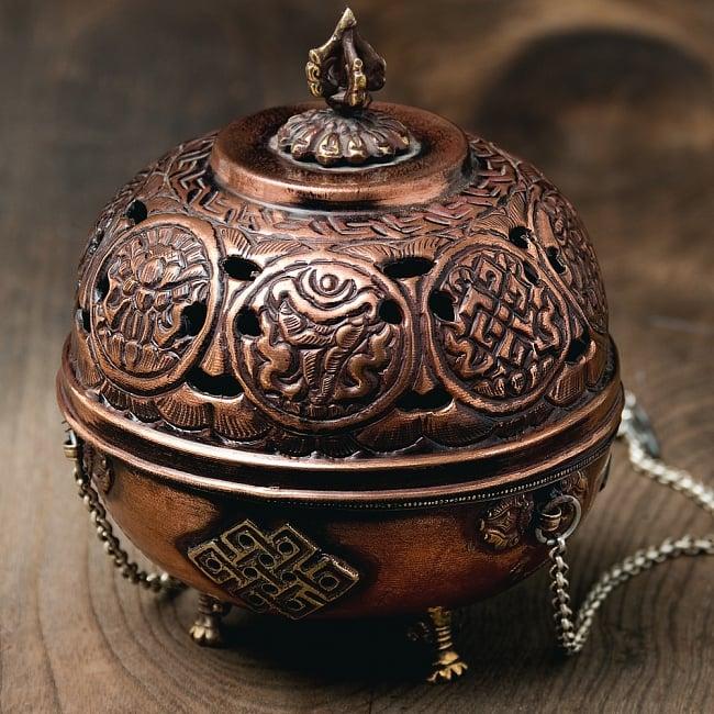 伝統チベタン香炉 吊り下げられるハンギング式 4 - もちろん置いて使うこともできます