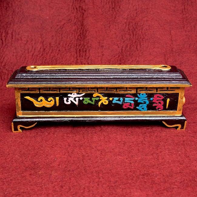 木彫りのチベタン香立て【オンマニペメフム】 2 - 彫刻がとても美しいです