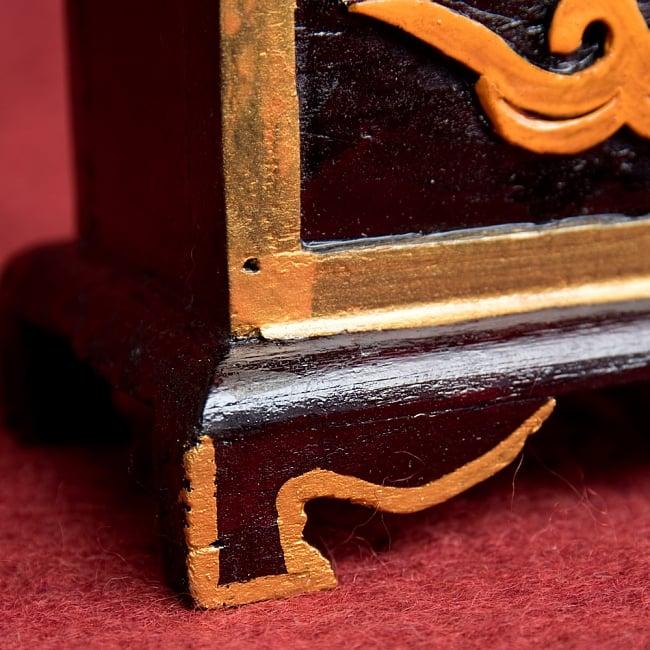 木彫りのチベタン香立て【オンマニペメフム】 7 - 足はとても素敵なアーチになっています!