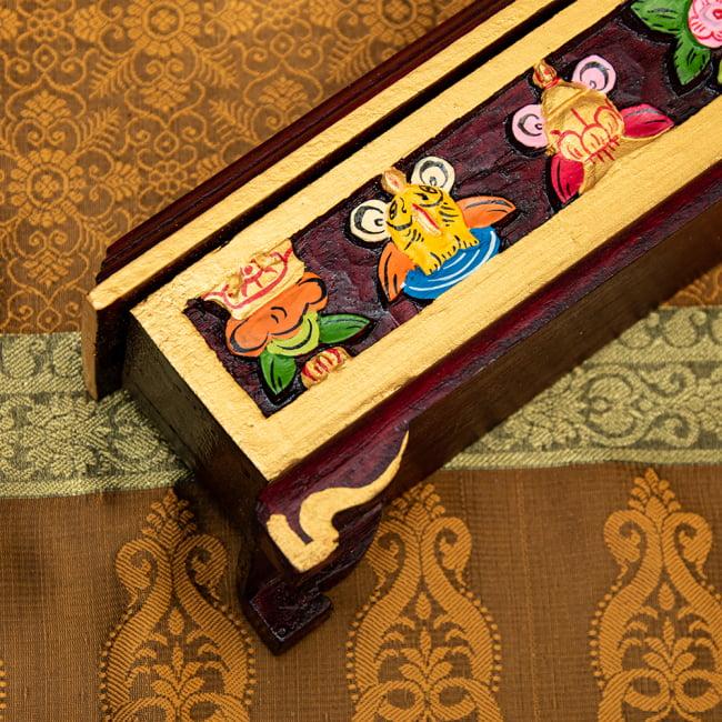 木彫りのチベタン香立て【吉祥文様・小】 7 - 足はとても素敵なアーチになっています^^