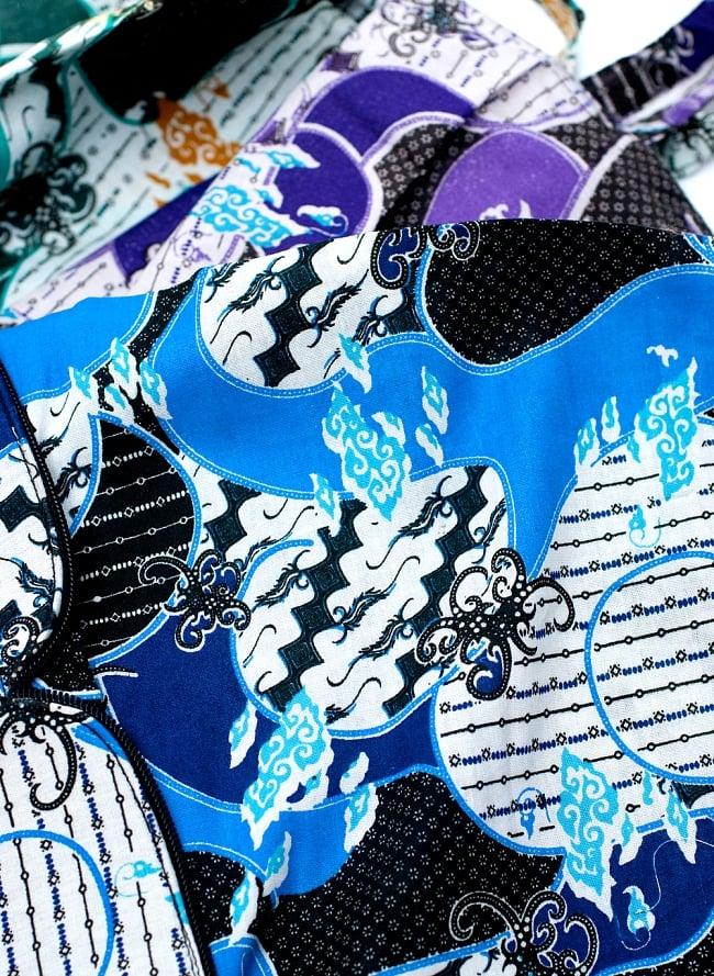 折りたためる!バティック生地のエコバッグ - ブルー系アソート 9 - バティック柄は 染めの部分が非常に独特なパターンを持つインドネシア伝統の染め方。それをプリントにしてお求めやすいバッグにしたのがこちらです。