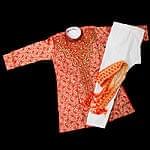 子供用クルタパジャマ 3点セット【ペイズリー・レッド】