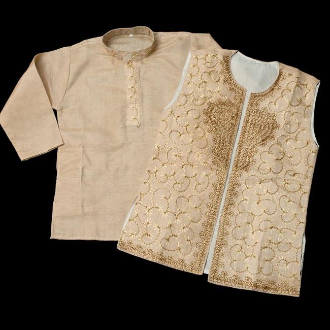 子供用クルタパジャマ 3点セット【マロンベージュ】 4 - シャツとベストと分かれているのでお好みで別々に着用しても良さそうです。