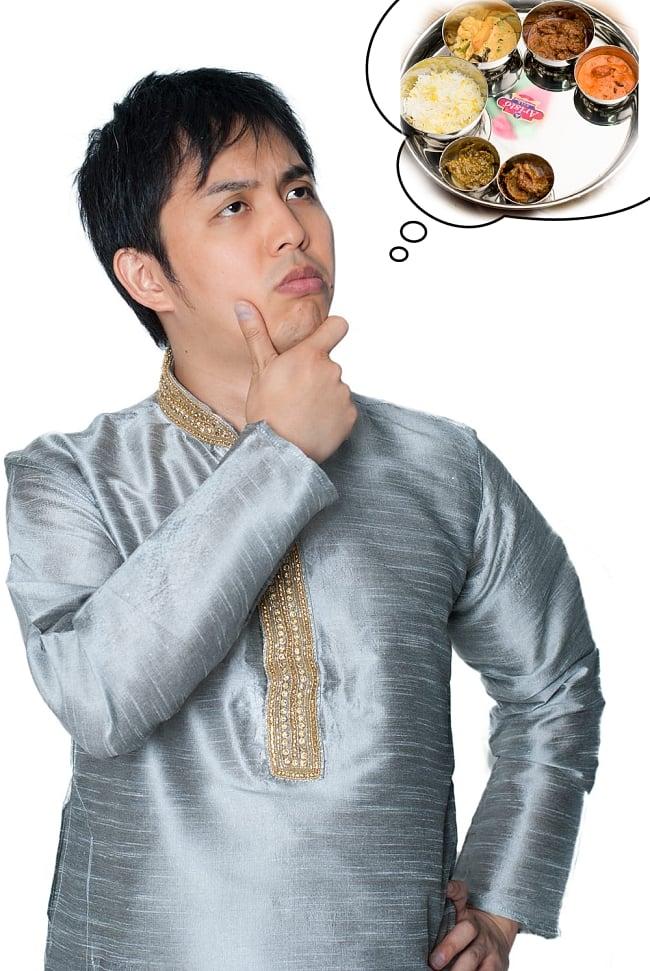 クルタ・パジャマ - シルバー【光沢生地ゴージャス】 8 - これを着ればあなたもインド人に!