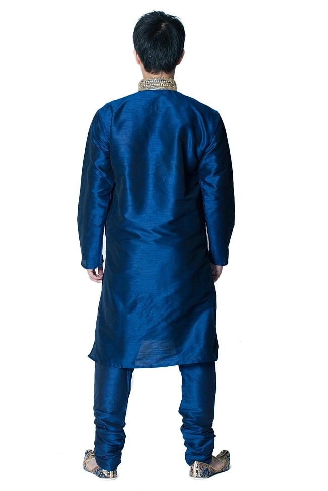 クルタ・パジャマ - グランドブルー【光沢生地ゴージャス】 3 - 背面からみてみました。なんとなくスラッとスタイルがよく見えるかも?!