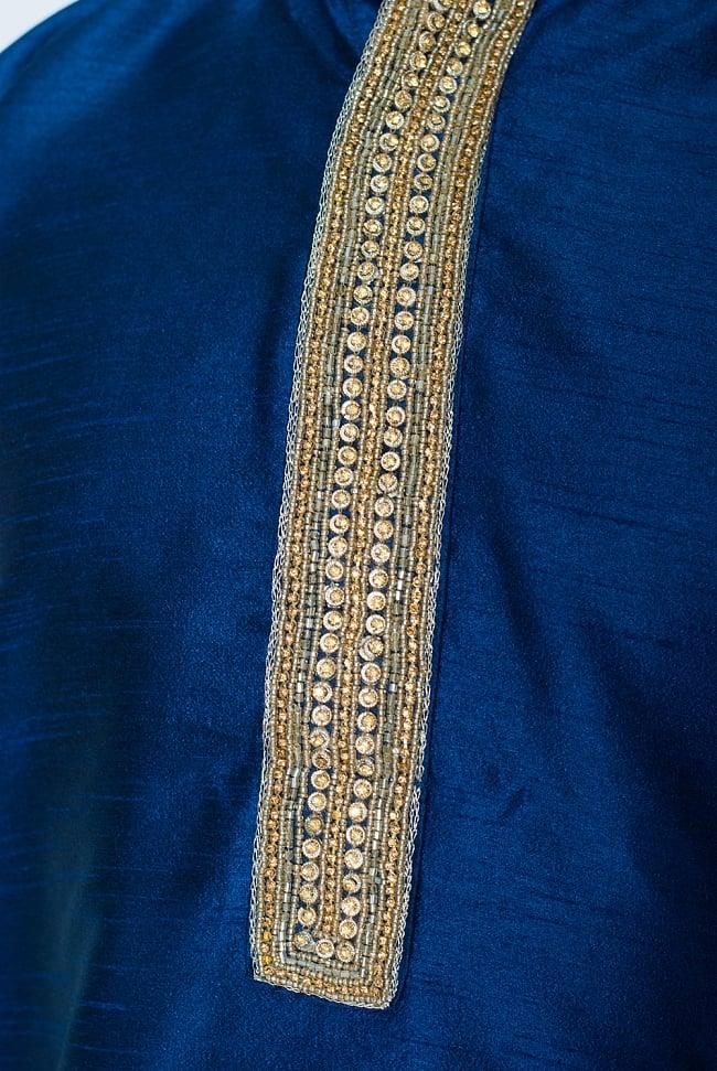 クルタ・パジャマ - グランドブルー【光沢生地ゴージャス】 5 - 華やかな装飾が施されています。