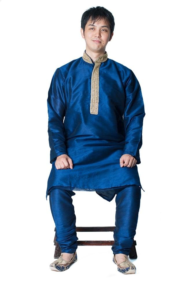 クルタ・パジャマ - グランドブルー【光沢生地ゴージャス】 8 - これを着ればあなたもインド人に!