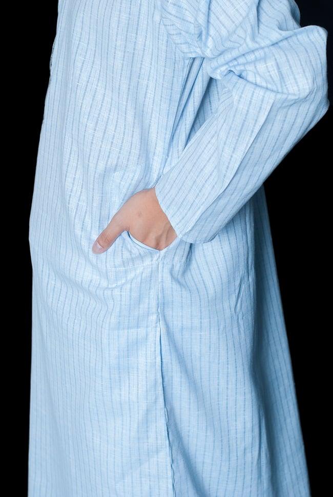クルタ・パジャマ - パステルブルー【薄手コットンストライプ】 7 - ポケットもあるので小物を入れるのにも便利です。