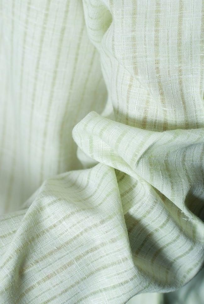 クルタ・パジャマ  - パステルグリーン【薄手コットンストライプ】 6 - 生地感の様子になります。