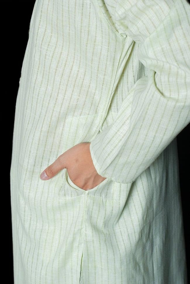 クルタ・パジャマ  - パステルグリーン【薄手コットンストライプ】 7 - ポケットもあるので小物を入れるのにも便利です。