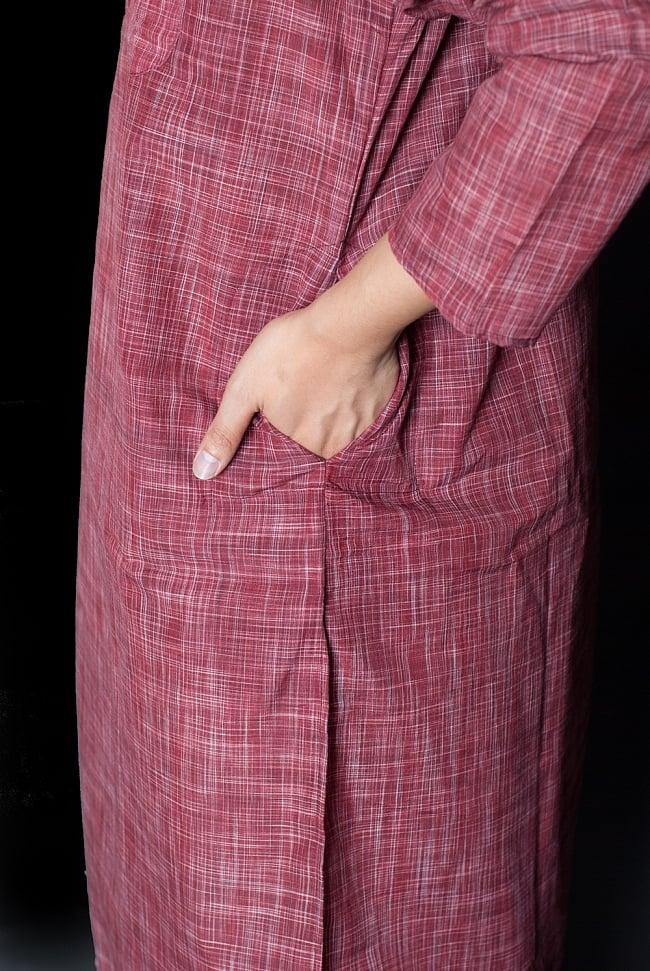 クルタ・パジャマ - えんじ色【シンプルコットン】 7 - ポケットもあるので小物を入れるのにも便利です。