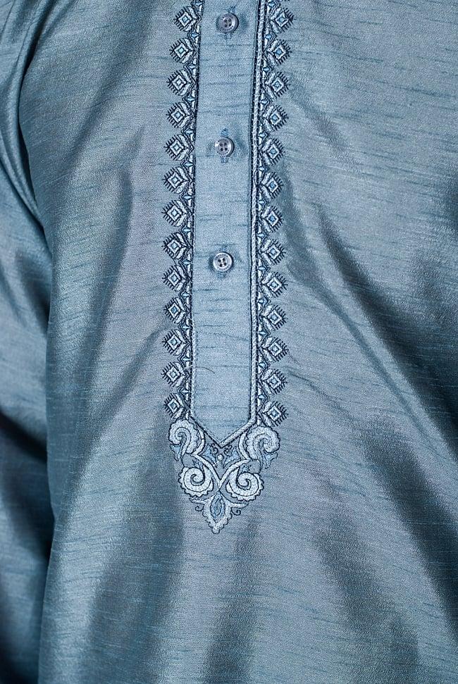 クルタ・パジャマ - 青灰色【光沢生地】 5 - 華やかな装飾が施されています。