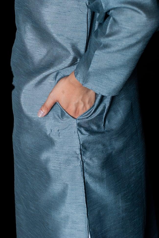 クルタ・パジャマ - 青灰色【光沢生地】 7 - ポケットもあるので小物を入れるのにも便利です。