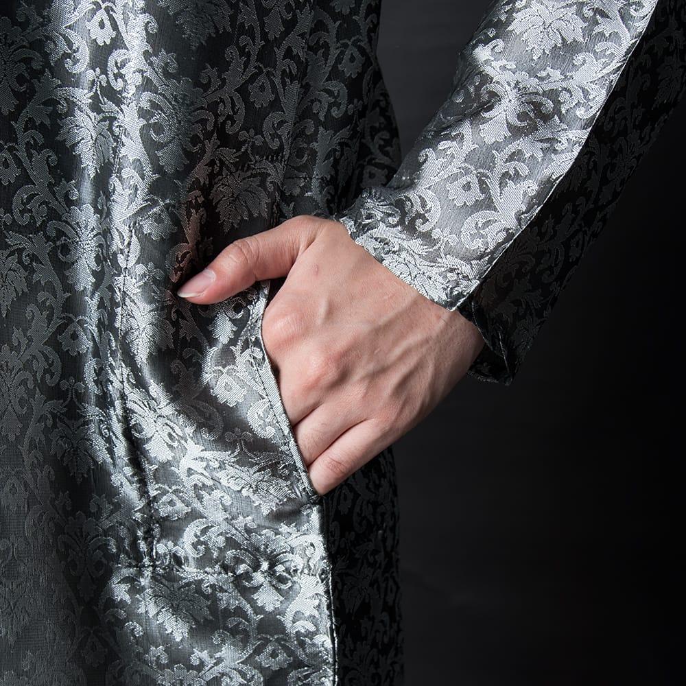 クルタ・パジャマ【光沢生地 シルバー】 7 - ポケットもあるので小物を入れるのにも便利です。