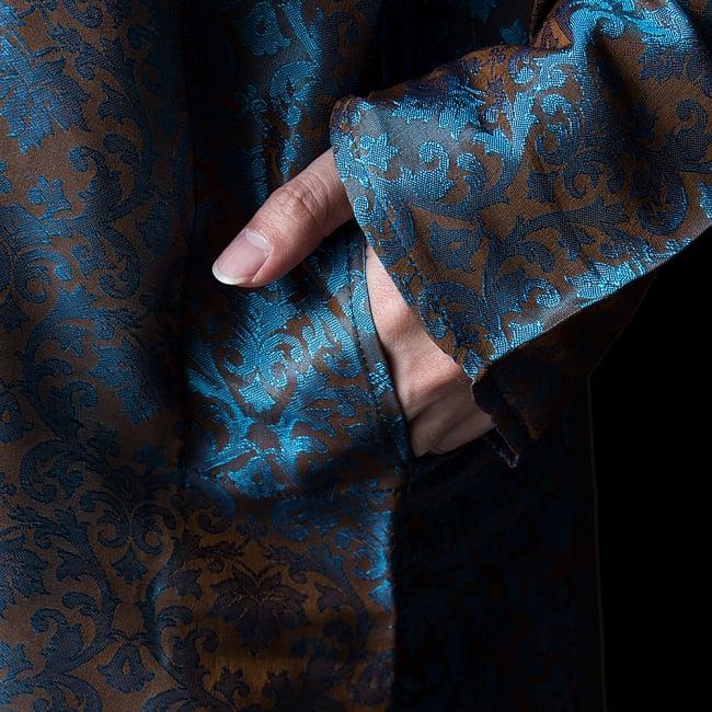 クルタ・パジャマ【光沢生地 水色&薄ブラウン】 7 - ポケットもあるので小物を入れるのにも便利です。