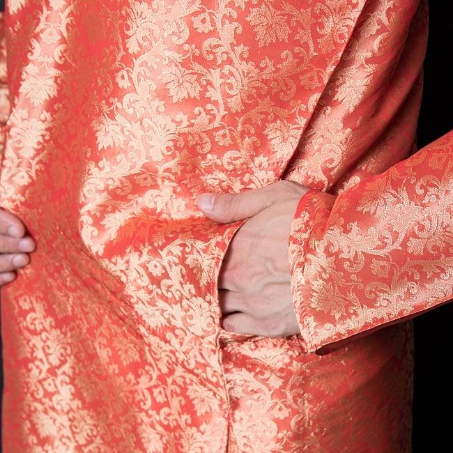 クルタ・パジャマ【光沢生地 シャイニングオレンジ】 7 - ポケットもあるので小物を入れるのにも便利です。